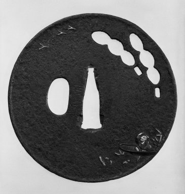 Nobuiye. Tsuba (Sword Guard), 17th century (possibly). Black-patinated iron, iroe, 3 5/16 in. (8.4 cm). Brooklyn Museum, Gift of Leighton R. Longhi, 74.202.13. Creative Commons-BY
