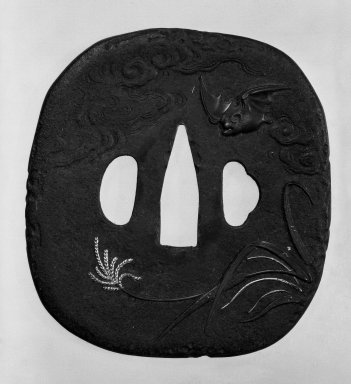 Tsuba (Sword Guard), 19th century. Brown-patinated iron, iroe, 3 7/16 x 3 1/8 in. (8.7 x 8 cm). Brooklyn Museum, Gift of Leighton R. Longhi, 74.202.21. Creative Commons-BY