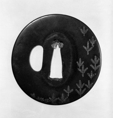 Tsuba (Sword Guard), late 18th-19th century (possibly). Coarse shakudo, gold, copper, 2 3/4 in. (7 cm). Brooklyn Museum, Gift of Leighton R. Longhi, 74.202.23. Creative Commons-BY