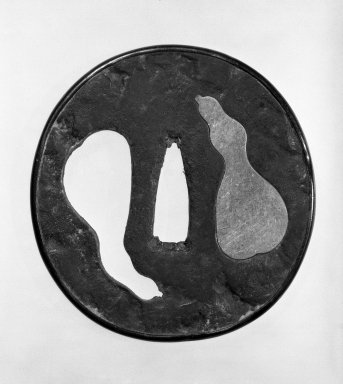 Tsuba (Sword Guard) in Tembo Style, 17th-18th century. Brown-black patinated iron, silver(ed?) metal, 2 15/16 x 2 13/16 in. (7.5 x 7.2 cm). Brooklyn Museum, Gift of Leighton R. Longhi, 74.202.24. Creative Commons-BY