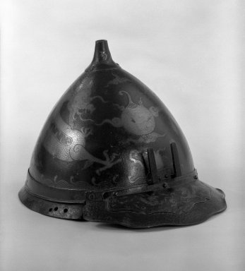 Helmet Bowl, 18th century. Brown-patinated hammered steel, 7 3/4 x 9 1/4 in. (19.7 x 23.5 cm). Brooklyn Museum, Gift of Leighton R. Longhi, 74.202.3. Creative Commons-BY