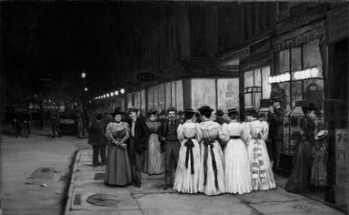 William Anderson Coffin (American, 1855-1925). Saturday Night in August -- Eighth Avenue, ca. 1900. Oil on canvas, 16 1/8 x 26 in. (41 x 66 cm). Brooklyn Museum, Gift of Mr. and Mrs. Stuart Feld, 74.207