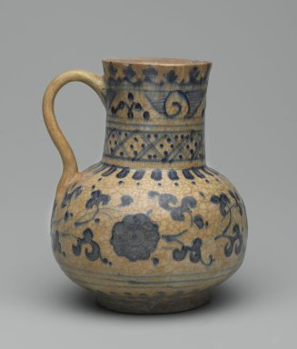 Jug, first half of the 15th century. Ceramic; fritware, painted in cobalt blue on an opaque white glaze, 5 7/8 x 4 3/4 in. (15 x 12 cm). Brooklyn Museum, Gift of the Governing Committee in honor of Elizabeth Riefstahl, 74.24. Creative Commons-BY