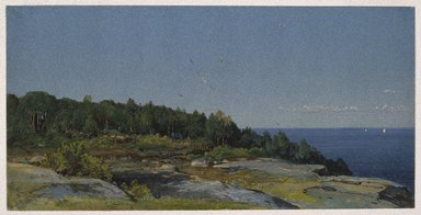 William Trost Richards (American, 1833-1905). The Sakonnet River, ca. 1876. Opaque watercolor over graphite on blue, moderately thick, slightly textured wove paper, 6 7/8 x 13 11/16 in. (17.5 x 34.8 cm). Brooklyn Museum, Dick S. Ramsay Fund, 74.30.3