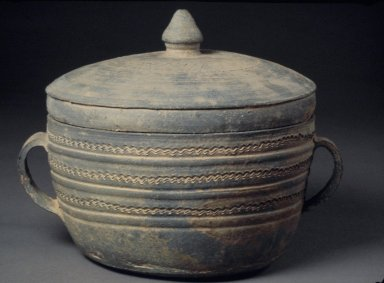 Container with Lid, 5th century. Stoneware, Height: 6 9/16 in. (16.6 cm). Brooklyn Museum, Gift of Nathan Hammer, 74.61.7a-b. Creative Commons-BY