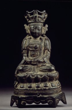 Seated Bodhisattva, 13th century. Bronze, 6 x 3 1/2in. (15.2 x 8.9cm). Brooklyn Museum, Designated Purchase Fund, 74.80.1. Creative Commons-BY