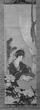 Maruyama Oshin (Japanese, 1790-1838). Chinese Beauty, early 19th century. Hanging scroll, Ink and colors on silk, 43 1/2 x 14 in. (110.5 x 35.5 cm). Brooklyn Museum, Designated Purchase Fund, 74.91