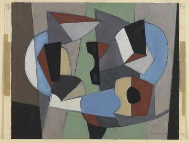 "George Lovett Kingsland Morris (American, 1905-1975). Study for ""Wall-Painting,"" 1936. Oil paint and graphite pencil on paper, 9 1/2 x 12 5/8 in. (24.1 x 32.1 cm). Brooklyn Museum, Gift of The Roebling Society in honor of Mrs. Earle Kress Williams, 74.94. © Frelinghuysen Morris Foundation"