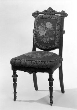 Side Chair (reception) (Renaissance Revival style), ca. 1865. Walnut, mahogany; original upholstery, 38 3/4 x 20 1/2 x 17 3/4 in. (98.4 x 52.1 x 45.1 cm). Brooklyn Museum, Gift of John H. Livingston, 74.96.1. Creative Commons-BY