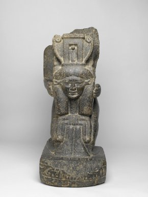 Sistrophoros Statue of  Kaemwaset, ca. 1400-1390 B.C.E. Granite, traces of paint, 26 1/8 x 10 1/4 x 17 13/16in. (66.3 x 26 x 45.3cm). Brooklyn Museum, Gift of Christos G. Bastis, 74.97. Creative Commons-BY