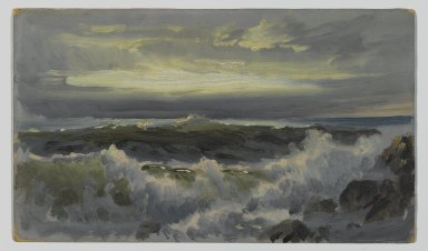 William Trost Richards (American, 1833-1905). A Rough Surf, after 1890. Oil on composition board, 8 3/16 x 14 3/8 in. (20.8 x 36.5 cm). Brooklyn Museum, Edith Ballinger Price, 75.12.1
