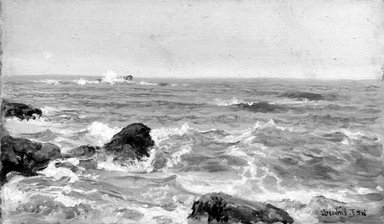 William Trost Richards (American, 1833-1905). Marine Study, 1890s. Oil on panel, 5 3/16 x 9 1/16 in. (13.2 x 23 cm). Brooklyn Museum, Gift of Edith Ballinger Price, 75.12.3