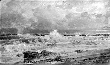 William Trost Richards (American, 1833-1905). Point Judith, 1880-1890. Oil on panel, 5 3/16 x 9 1/16 in. (13.2 x 23 cm). Brooklyn Museum, Gift of Edith Ballinger Price, 75.12.5
