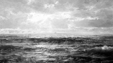 William Trost Richards (American, 1833-1905). Marine Study, 1890s. Oil on panel, 5 1/8 x 9 1/16 in. (13 x 23 cm). Brooklyn Museum, Gift of Edith Ballinger Price, 75.12.6
