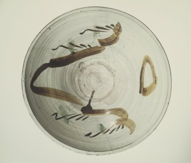 Bowl, 18th century. Glazed stoneware with white slip and underglaze iron decoration; Futagawa  or Takeo Karatsu ware, 6 3/8 x 19 7/8 in. (16.2 x 50.5 cm). Brooklyn Museum, Gift of the Tokio Marine and Fire Insurance Co. Ltd., 75.124. Creative Commons-BY