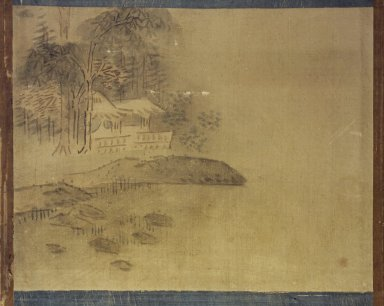 Landscape, 19th century. Ink and light color on silk, 11 3/8 x 14 3/8 in.  (28.9 x 36.5 cm). Brooklyn Museum, Designated Purchase Fund, 75.125.10