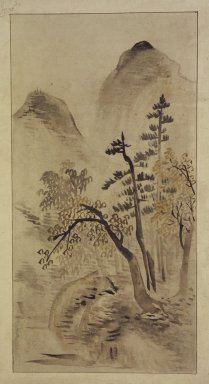 Landscape, 19th century. Ink and light color on silk, overall: 30 5/16 x 13 in. (77 x 33 cm). Brooklyn Museum, Designated Purchase Fund, 75.125.13