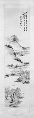 Nukina Kaioku (Japanese, 1778-1863). Landscape, 1852. Hanging scroll, ink and light color on paper, Image: 42 3/4 x 10 5/8 in. (108.6 x 27 cm). Brooklyn Museum, J. Aron Charitable Foundation Purchase Funds, 75.128.4