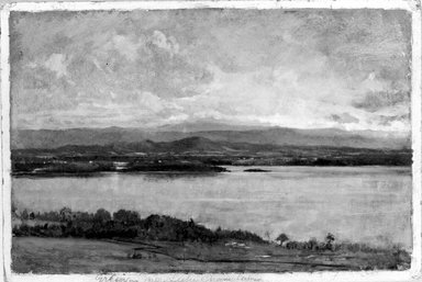 Winckworth Allan Gay (American, 1821-1910). Green Mountains, Lake Champlain, ca. 1865. Oil on paperboard, 8 3/16 x 12 1/8 in. (20.8 x 30.8 cm). Brooklyn Museum, Dick S. Ramsay Fund, 75.137