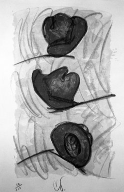 Claes Oldenburg (American, born Sweden 1929). Three Hats, Number Eight, 1974. Lithograph on paper, sheet: 35 x 23 1/8 in. (88.9 x 58.7 cm). Brooklyn Museum, Designated Purchase Fund, 75.16.8. © Claes Oldenburg