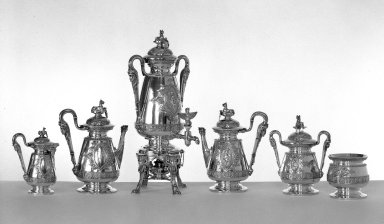 J. E. Caldwell & Co.. Coffee Pot with Hinged Cover, ca. 1875. Sterling silver, ivory, Other (Height): 11 11/16 in. (29.7 cm). Brooklyn Museum, H. Randolph Lever Fund, 75.164.2. Creative Commons-BY