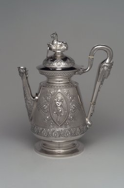 J. E. Caldwell & Co.. Teapot with Hinged Cover, ca. 1875. Silver, ivory, 11 1/2 x 9 1/8 x 5 5/8 in. (29.2 x 23.2 x 14.3 cm). Brooklyn Museum, H. Randolph Lever Fund, 75.164.3. Creative Commons-BY