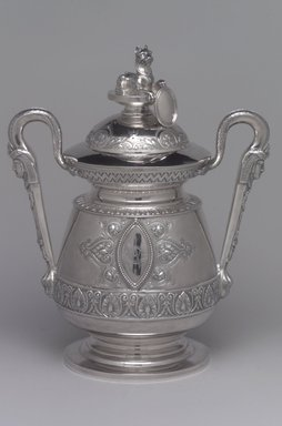 J. E. Caldwell & Co.. Sugar Bowl and Cover, ca. 1875. Silver, 10 x 8 1/4 x 5 5/16 in. (25.4 x 21 x 13.5 cm). Brooklyn Museum, H. Randolph Lever Fund, 75.164.5a-b. Creative Commons-BY