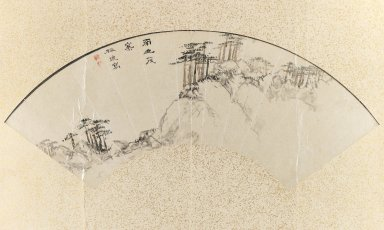 Baiitsu Yamamoto (Japanese, 1783-1856). Landscape, 19th century. Fan painting, ink and light color on paper, Image: 8 x 18 1/2 in. (20.3 x 47 cm). Brooklyn Museum, Gift of Mrs. Harry McLeod, 75.175. Creative Commons-BY