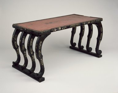 Low Table, 12th-14th century. Wood, lacquer, mother of pearl inlay, gilt bronze, 18 1/2 x 37 7/8 x 18 11/16 in. (47 x 96.2 x 47.5 cm). Brooklyn Museum, Gift of Amy and Robert L. Poster, 75.176. Creative Commons-BY