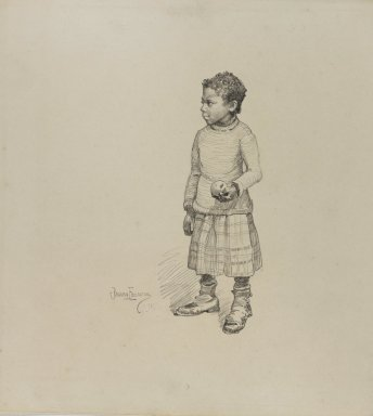 Benjamin Osro Eggleston (American, 1867-1937). Little Girl Holding an Apple, 1927. Graphite on cream, moderately thick, very smooth wove paper, sheet: 10 1/8 x 11 1/16 in. (25.7 x 28.1 cm). Brooklyn Museum, Dick S. Ramsay Fund, 75.187