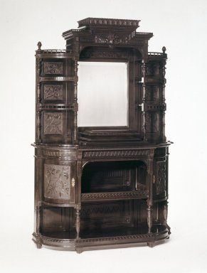 Cabinet, ca. 1885. Ebonized cherry, 43 x 46 1/2 x 13 1/2 in. (109.2 x 118.1 x 34.3 cm). Brooklyn Museum, H. Randolph Lever Fund, 75.1. Creative Commons-BY