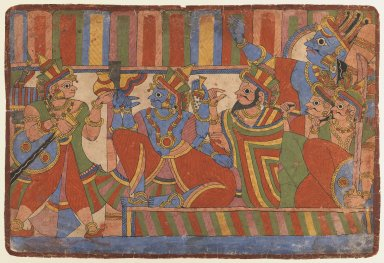 Indian. Krishna Counsels the Pandava Leaders, Page from a Mahabharata series, ca. 1830-1850. Opaque watercolor on paper, sheet: 11 x 16 1/4 in.  (27.9 x 41.3 cm). Brooklyn Museum, Gift of Doris and Ed Wiener, 75.203.4