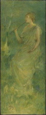 Thomas Wilmer Dewing (American, 1851-1938). Music, ca. 1896-1900. Oil on canvas mounted on composition board and wooden panel, 51 7/16 x 20 7/16 in. (130.7 x 51.9 cm). Brooklyn Museum, Gift of Martin Horwitz, 75.206