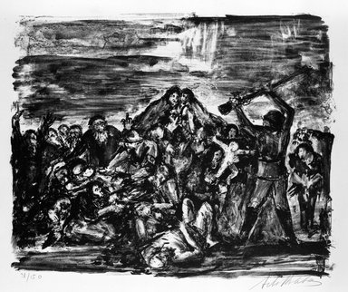 Arbit Blatas (American, born Lithuania, 1908-1999). Babi Yar, ca. 1944. Lithograph on paper, Sheet: 19 3/4 x 25 3/8 in. (50.2 x 64.5 cm). Brooklyn Museum, Anonymous gift, 75.215.1. © Estate of Arbit Blatas