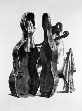 Joseph Hirsch (American, 1910-1981). Cellist, 1969. Lithograph, 25 3/4 x 19 3/4 in. (65.4 x 50.2 cm). Brooklyn Museum, Anonymous gift, 75.215.3. © Estate of Joseph Hirsch
