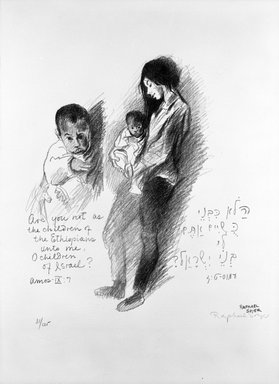 Raphael Soyer (American, born Russia, 1899-1987). Woman and Child. Lithograph on paper, sheet: 30 x 22 in. (76.2 x 55.9 cm). Brooklyn Museum, Anonymous gift, 75.215.7. Creative Commons-BY