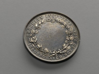 Allen & Moore (Birmingham, England, 1843-1854). Augustus Graham Medal, issued 1856. Silver, 2 x 2 x 3/16 in. (5.1 x 5.1 x 0.5 cm). Brooklyn Museum, H. Randolph Lever Fund, 75.24.1. Creative Commons-BY