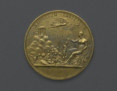 Moritz Furst (American, born Hungary, 1782-died after 1841). Brooklyn Institute Medal, ca. 1845. Gold-plated metal, 2 1/16 x 2 1/16 x 1/8 in. (5.2 x 5.2 x 0.3 cm). Brooklyn Museum, H. Randolph Lever Fund, 75.24.2. Creative Commons-BY