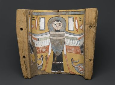 Image of a Ba-bird on a Footpiece from a Coffin, ca. 945-712 B.C.E. Wood, plaster, paint, 11 x 12 5/8 x 5 5/8 in. (28 x 32.1 x 14.3 cm). Brooklyn Museum, Charles Edwin Wilbour Fund, 75.27. Creative Commons-BY