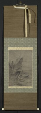 Kenko Shokei (Japanese, flourished ca. 1478-1506). Lakeside Mountain Landscape, 16th century. Hanging scroll, ink and light color on paper, Exclusive of mounting: 18 x 12 in. (45.7 x 30.5 cm). Brooklyn Museum, Designated Purchase Fund, 75.31