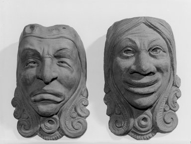 Indian Head Comic Mask, ca. 1900. Red terra-cotta, 11 1/2 x 8 1/4 in. (29.2 x 21 cm). Brooklyn Museum, Gift of Herbert Hemphill, 75.68.2. Creative Commons-BY