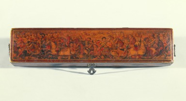 Pen box, 19th century. Ink, opaque watercolor, and gold with gold flecks on papier mâché under lacquered varnish; lacquered marbleized paper, 2 x 2 1/4 x 10 7/8 in. (5.1 x 5.7 x 27.6 cm). Brooklyn Museum, Gift of Mr. and Mrs. A. Hyatt Mayor in honor of Charles K. Wilkinson, 75.6. Creative Commons-BY