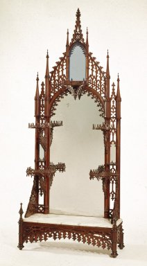 Etagere, ca. 1845-1855. Carved, turned, laminated rosewood, silvered glass