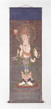 Gatten (Buddhist Hanging Scroll Painting), 14th century. Hanging scroll, ink and color on silk, Image: 41 x 15 7/8 in. (104.1 x 40.3 cm). Brooklyn Museum, Anonymous gift, 76.116