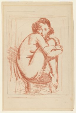 Robert Henri (American, 1865-1929). Nude Perched on Chair, ca. 1910s. Red crayon and graphite on cream, medium-weight, smooth wove paper, Sheet: 12 1/16 x 7 15/16 in. (30.6 x 20.2 cm). Brooklyn Museum, Gift of Dr. and Mrs. Theodore Leshner, 76.127.11