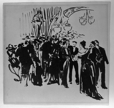 Robert Henri (American, 1865-1929). Party Scene, ca. 1890-1900. Black ink on cream, moderately thick, smooth wove paper, Sheet (slightly irregular): 7 7/8 x 8 1/8 in. (20 x 20.6 cm). Brooklyn Museum, Gift of Dr. and Mrs. Theodore Leshner, 76.127.3