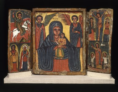 Amhara. Painted Icon, Double Triptych, 19th century. Gesso on linen, tempera, wood, 12 x 18 in. (35.0 x 45.7 cm). Brooklyn Museum, Gift of Mr. and Mrs. Franklin H. Williams, 76.132. Creative Commons-BY