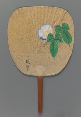 Mori Ippo (Japanese, 1798-1891). Morning Glory, ca. 1870. Fan painting, ink, color and gold fleck on paper over a split-bamboo frame, Overall, including handle: 14 1/4 x 9 in. (36.2 x 22.9 cm). Brooklyn Museum, Purchased with funds given by Mr. and Mrs. Harry Kahn, 76.13. Creative Commons-BY
