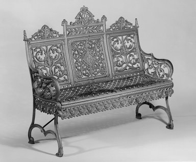 Peter Timmes Son. Bench, ca. 1895. Painted cast iron, 39 3/4 x 43 1/2 x 14 3/4 in. (101 x 110.5 x 37.5 cm). Brooklyn Museum, H. Randolph Lever Fund, 76.143. Creative Commons-BY