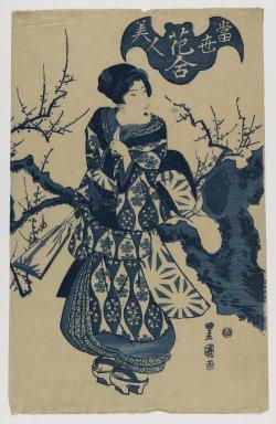Gosotei Toyokuni II (Japanese, 1802-1835). Tosei Bijin, Hana-awase Series, ca. 1830. Woodblock print, 14 1/4 x 9 3/16 in. (36.2 x 23.3 cm). Brooklyn Museum, Anonymous gift, 76.151.13